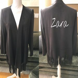 Zara Brown Suede Fringe Jacket cardigan size S